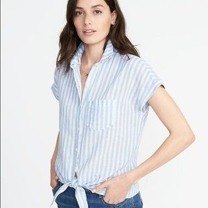 Blue and white linen blouse